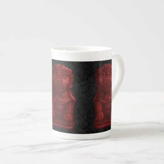 Red Lion Dog Pixel Art Tea Cup