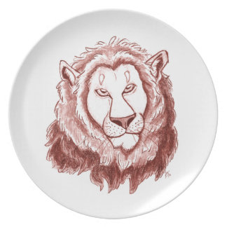 Red Lion Head Pencil Sketch Dinner Plate