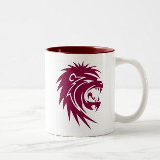 Red lion head Two-Tone coffee mug