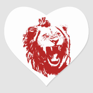 Red Lion King Heart Sticker
