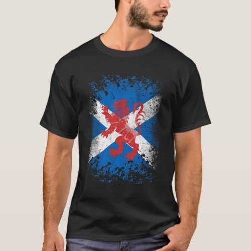Red Lion Rampant and Scottish Flag T_Shirt