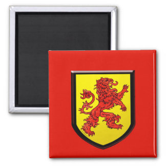 Red Lion Yellow Shield 2 Inch Square Magnet