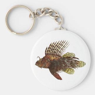 Red Lionfish Vintage Print Basic Round Button Keychain