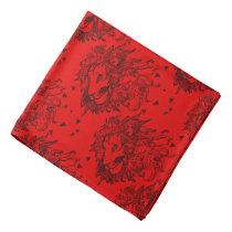 Red Lions and Triangles Patterned Bandana