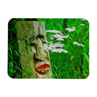 Red Lipped Totem Among Flowers Abstract Magnet