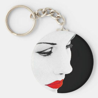 Red Lipped Womans Partial Face Keychain