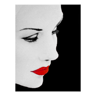 Red Lipped Womans Partial Face Poster