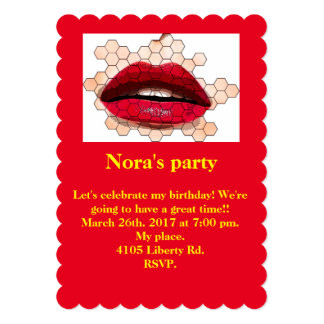Red lips 5x7 invitation. card