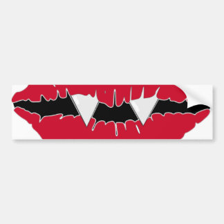 Red Lips and Fangs Car Bumper Sticker