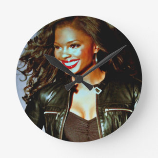 """""""Red Lips and Leather"""" by Lanisha Cole Round Clock"""