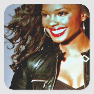 """Red Lips and Leather"" by Lanisha Cole Square Sticker"