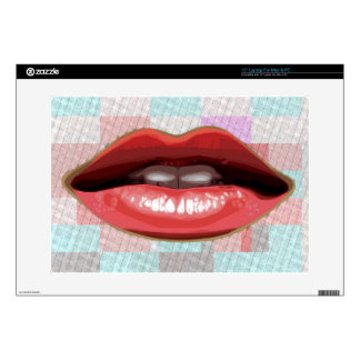 """Red Lips and Pattern Background 15"""" Laptop Decal"""