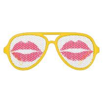 Red Lips Aviator Sunglasses