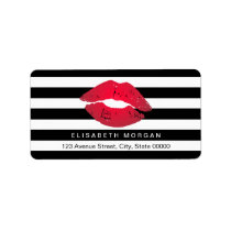 Red Lips Black White Stripes Label