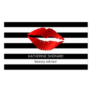 Red Lips Black & White Stripes Makeup Beauty Business Card