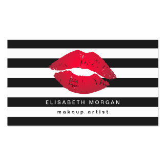 Red Lips Black White Stripes Modern Makeup Artist Double-Sided Standard Business Cards (Pack Of 100)