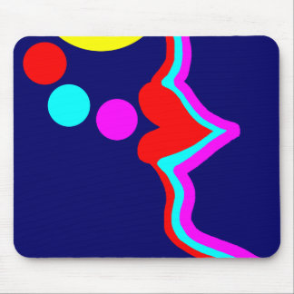 Red lips blowing bubbles in vibrant colours. mouse pad