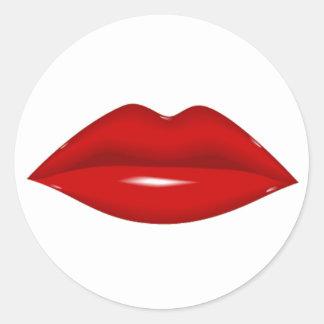 Red Lips Classic Round Sticker