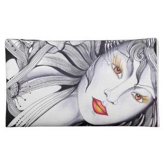 Red Lips Girl Portrait Makeup Bag