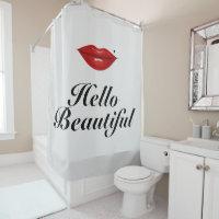 Red Lips/Hello Beautiful - Shower Curtain