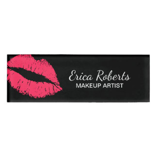 Red Lips Kiss Makeup Artist Beauty Salon Name Tag