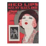 RED LIPS KISS MY BLUES AWAY POSTCARD