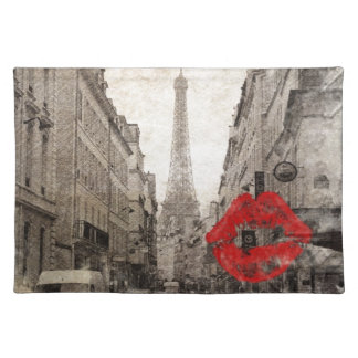 Red lips Kiss Shabby chic paris eiffel tower Cloth Placemat