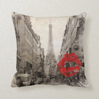 Red lips Kiss Shabby chic paris eiffel tower Throw Pillow
