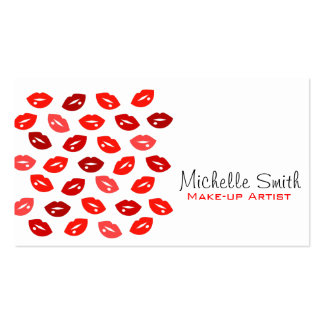 Red lips Make-up artist business card Business Card Templates