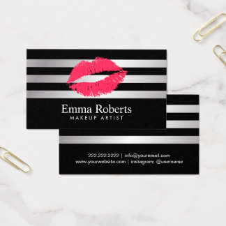 Red Lips Modern Silver Stripes Makeup Artist Business Card