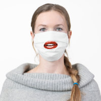 Red Lips Mouth Lipstick Woman For her Cloth Face Mask