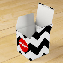 Red Lips on Black and White Zigzag Favor Box
