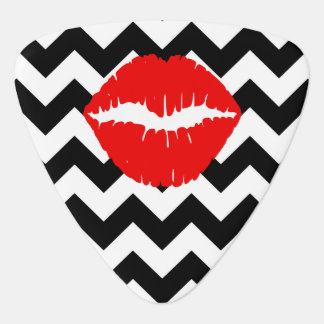 Red Lips on Black and White Zigzag Guitar Pick
