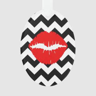 Red Lips on Black and White Zigzag Ornament