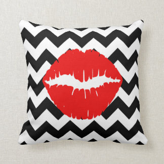 Red Lips on Black and White Zigzag Pillow