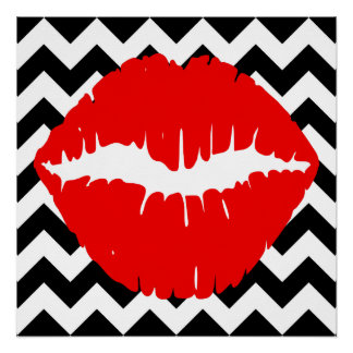 Red Lips on Black and White Zigzag Poster