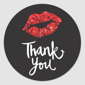 red lips on black thank you classic round sticker