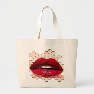 Red lips on chicken net jumbo tote. large tote bag