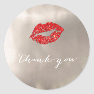 red lips on silver foil thank you classic round sticker
