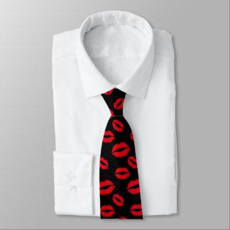 Red Lips Pattern Modern Black Neck Tie