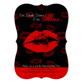 Red lips pattern valentine party invitation