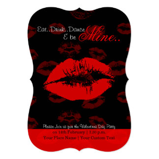 Red lips pattern valentine party invitation