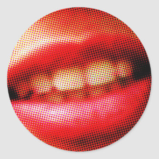 Red lips pop art style classic round sticker
