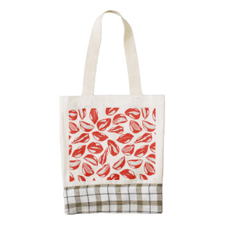 Red Lips ready to kiss Zazzle HEART Tote Bag