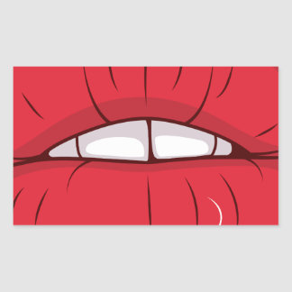 Red Lips Rectangular Sticker