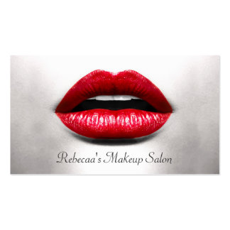 Red Lips Retro Monochrome - Makeup Artist Double-Sided Standard Business Cards (Pack Of 100)