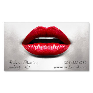 Red Lips Retro Stylish Beauty - Makeup Artist Magnetic Business Card