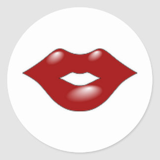 Red Lips Round Sticker