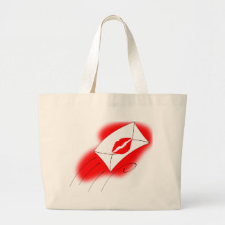 Red Lips Sealed with a Kiss Large Tote Bag