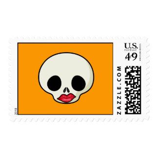 Red Lips Skull Postage